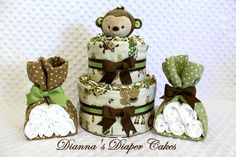 Baby Diaper Cake Mini 2 Tier & 2 Burp Cloth Stork Bundles Monkey Theme Shower Gift or Centerpiece via Etsy