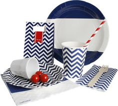 Navy Chevron Party Package