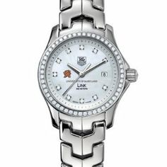 """University of Maryland Women's TAG Heuer Link Watch with Mother of Pearl Diamond Dial and Diamond Bezel by TAG Heuer. $5195.00. Officially licensed by University of Maryland. Swiss-made Quartz movement.. TAG Heuer international two-year warranty. Authentic TAG Heuer watch only at M.LaHart & Co.. Unique TAG Heuer presentation box.. University of Maryland TAG Heuer women's Link watch with M logo on brilliant diamond dial; """"University of Maryland"""" is written underneath. Sparkling ..."""