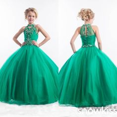 New arrival emerald green long glitz beading crystals pageant dresses for girls elegant juniors prom evening tulle ball gowns #Affiliate