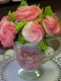 Cupcake Bouquet in a glass mug Cupcake Flower Bouquets, Creative Food Art, How To Make Rose, Baptism Favors, Love Cupcakes, Gift Cake, Pretty Roses, Cupcake Cakes, Pastries