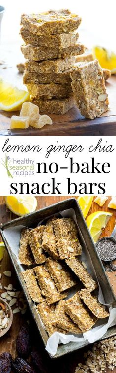 Lemon, almonds, chia and crystallized ginger come together in these simple no-bake snack bars. They are naturally sweetened with Medjool dates and a touch of honey. Healthy Seasonal Recipes