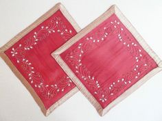 Set of 2 Decorative Square Christmas Table Placemats - Dark Red Walton & Co for sale online Placemat, Dark Red, Table, Christmas, Ebay, Decor, Xmas, Decoration, Tables