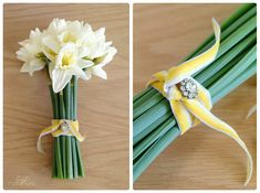 I like the yellow ribbon on this bouquet but not sure if it is strong enough to hold bouquet together. Maybe for smaller Maid of Honour bouquet.