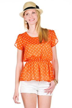 Orange Bright Top, polka dots are my favorite! Fransesca's   Women's Clothing Stores & Online Boutique