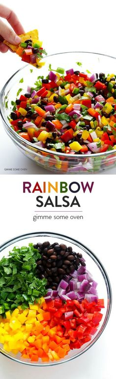 Rainbow Salsa -- it's fresh, healthy, colorful, and tasty. This is great to make ahead of time for a party. It's a healthy inbetween meals snack too! Mexican Food Recipes, Vegan Recipes, Cooking Recipes, Delicious Recipes, Diet Recipes, Recipies, Spinach Recipes, Fun Recipes, Shrimp Recipes