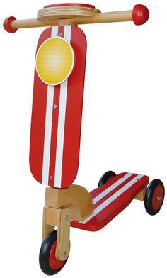 patinete madera rojo para niños