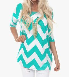 "You just may have found your new favorite top! This Chevron top is super comfy yet looks gorgeous! Size: Bust: S-34"" M-36"" L-37"" XL-39"" Length: S-27"" M-28"" L-28 XL-29"""