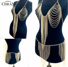 Chran New Halter Lingerie Sexy Showgirl Exotic Bra Chain Tassel Dress harness Slave Body Chain Skirt Belly Waist Jewelry BCJ204