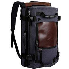 ibagbar Canvas Backpack Travel Bag Hiking Bag Camping Bag Rucksack Dark Gray Large  #onebagtraveler