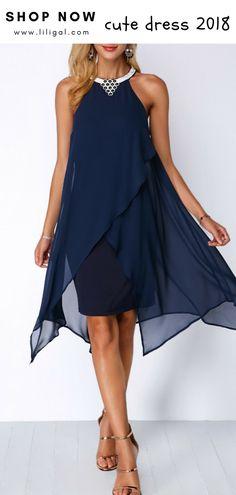 USD37.26 Embellished Neck Navy Blue Asymmetric Hem Chiffon Dress  liligal   dresses   6b12e1e6a3