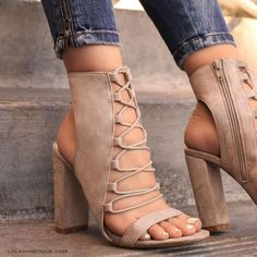 : Standout Look - Taupe Heels By Lolashoetique Lace Up Heels, Ankle Strap Heels, Ankle Straps, Pumps Heels, Stiletto Heels, High Heels, Strappy Chunky Heels, Heeled Sandals, Cute Shoes