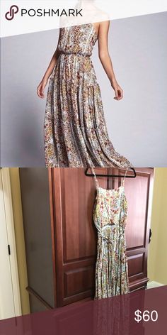 Free People Valerie Maxi Dress Free People Spring Garden meadow dress is perfect for spring. It has a low cut back with criss cross strap detail with tiered skirt. This dress was only worn once and is in excellent condition. Free People Dresses Maxi