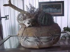 SOUTHWESTERN CACTUS, COW SKULL AND WAGON WHEEL DECORATIVE BASKET