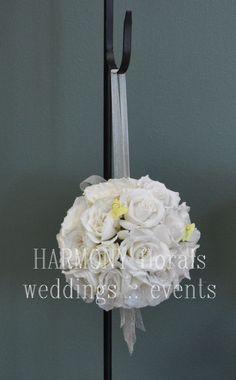 #flowergirl #kissingball #pomander #whiteroses Kissing Ball, Ring Bearer, Flower Girls, White Roses, Party, Flowers, Wedding, Valentines Day Weddings, Fiesta Party