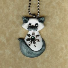 Siamese Himalayan Kitty Cat Necklace Polymer Clay by Freeheart1