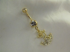 Gold Belly Ring Anchor With Rhinestone by AGothShop on Etsy, $15.00