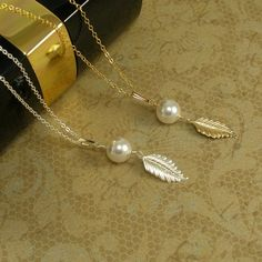 Gold leaf necklace Leaf jewelry by StarringYouJewelry #necklace #jewelry #leaf #pearl