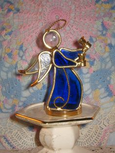 """Items similar to Standing Stain Glass Angel """" Ring the Bells """" on Etsy Angel Ring, Stained Glass Angel, Angels, Unique Jewelry, Handmade Gifts, Rings, Etsy, Vintage, Kid Craft Gifts"""