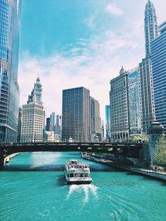 Chicago Boat Ride Chicago River Skyscrapers Cityscape