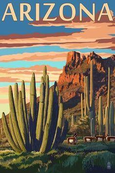 Wall Mural: Arizona - Organ Pipe Cactus by Lantern Press : 72x48in