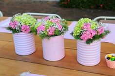 20 tin can craft ideas for flower vases and plant pots, Show Your Crafts and DIY Projects. Diy Flowers, Flower Vases, Flower Decorations, Flower Pots, Flower Ideas, Table Decorations, Rose Flowers, Green Flowers, Wedding Flowers