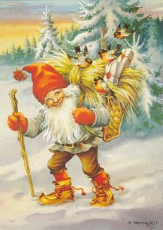 Shop Vintage Finnish Joulupukki Christmas Card created by RetroMagicShop. Personalize it with photos & text or purchase as is! Vintage Christmas Cards, Christmas Pictures, Vintage Cards, Norwegian Christmas, Scandinavian Christmas, Illustration Noel, Illustrations, Troll, Old Cards