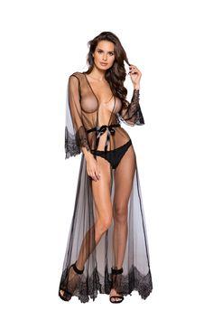 268492b1a9d Sexy Roma Black Nude Black Lingerie Elegant Sheer Maxi Length Robe with  Eyelash Lace Detail