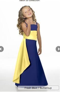 blue with yellow sash bridesmaid dress | bridesmaids dresses ...