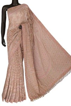 Ada Hand Embroidered Dusty Pink/ Onion Pink Pure Georgette Lucknowi Chikankari Saree/Blouse With Sequinned & Pearl Work- A49688 include an embroidered blouse, the blouse is worked up with Chikan embroidery and the sleeves include floral motifs. #Ada #Adachikan #chikankari #handembroidered #handcrafted #puregeorgette #saree