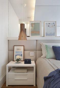 Cabeceira estofada. Apartamento integrado (Foto: Denílson Machado/Divulgação)
