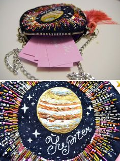 """crochetbycalla: """" sosuperawesome: """" Embroidered Universe Purses, UFO Pins and Beaded Jupiter Bag, by Oliness Art Studio on Etsy See our embroidery or galaxy tags Follow So Super Awesome: Blog •..."""