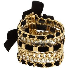 Juicy Couture - Bg-Black/Gold Multi Chain Bracelet (Black) - Jewelry found on Polyvore