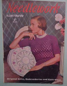 Vintage 1940s Needlecraft Magazine Sewing Embroidery Knitting Crochet - Needlework Illustrated No. 198 40s knitting pattern women's sweater