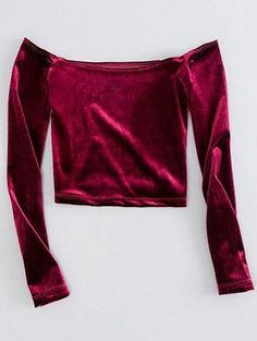 Off The Shoulder Cropped Velvet Top - BURGUNDY S