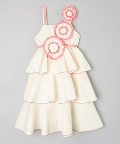 Another great find on #zulily! Ivory & Fuchsia Ruffle Dress - Infant, Toddler & Girls #zulilyfinds