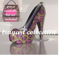 Pink Gold Leopard High Heel Shoe TAPE DISPENSER Stiletto Platform - office supplies - trayart collection. $29.50, via Etsy.