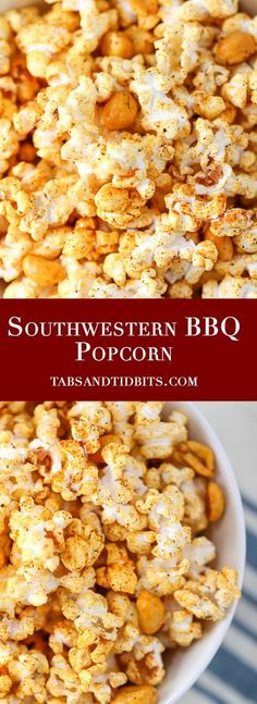 Southwestern BBQ Popcorn - A smoky bbq and buttery popcorn treat! Popcorn Snacks, Candy Popcorn, Popcorn Recipes, Snack Recipes, Popcorn Balls, Gourmet Popcorn, Candy Recipes, Homemade Popcorn, Flavored Popcorn