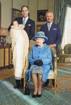 Vier Generationen der britischen Königsfamilie: Taufe von Prinz George Postkarte