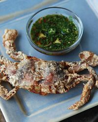// Crispy Soft-Shell Crabs with Bangalore-Style Dipping Sauce