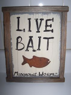 Rustic Cabin Sign Wood Bait Sign Weathered Board by msink on Etsy, $12.00