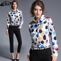 Polka Dot Women's Blouses Elegant Long Sleeve Chiffon Blouse