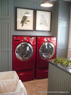 gray laundry rooms RED LG steam washer and dryer. Got them on deep discount at Sears. This is not our laundry room. Laundry Room Colors, Laundry Room Design, Laundry Rooms, Basement Colors, Basement Laundry, Laundry Area, Laundry Closet, Laundry Storage, Basement Ideas