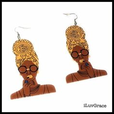 Wooden Earrings ~ Chick in Yellow Scarf ~ #Unbranded #DropDangle