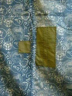 awesome 19Th C early Blue Calico with early repair..