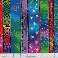 Laurel Burch Enchantment Christmas STRIPES BRIGHT Fabric By the FQ - 1/4 YD