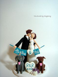 Romantic Customized wedding cake topper with dogs by Clayphory, $150.00  Cute.  Would have to change the dogs to kitties.