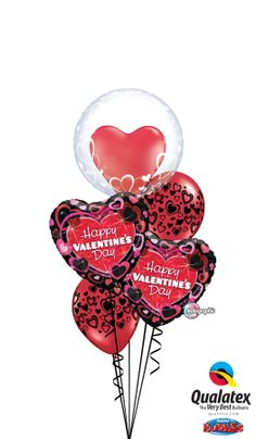 This bouquet is topped by a Qualatex Deco Bubble Double Stuffed with a 15'' Red Heart. Find a balloon professional near you. #qualatex #balloon #heart #valentines