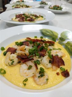 Homebrew beer and cheese infused grits covered in lemony shrimpers and bacon. Whip up a batch of Shrimp and Beer-Cheese Grits and everyone will be asking for seconds. Cheese Grits, Beer Cheese, Shrimp Grits, Home Brewing Beer, Homebrewing, Risotto, Bacon, Food Porn, Chicken