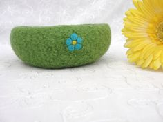 Handmade Spring Green Wool Felted Bowl with Needle by Susietoos, $18.00